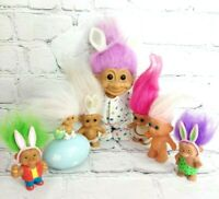 Vintage Easter Bunny Trolls Mixed Lot of 7 Various Sizes Brands Multi Color Hair