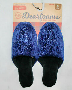 NWT DEARFOAMS Peacoat Floral Embossed Blue Velour Backless Slipper Wo's 5-6