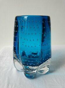 Vintage Whitefriars Geoffrey Baxter Kingfisher Blue Lobed Bubble Glass Vase