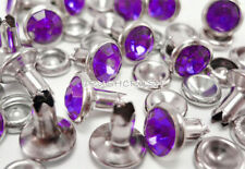40Set 8mm Purple Synthetic Crystal Rhinestone RIVETS Leather Decoration 678RV
