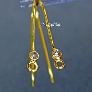 18k Solid Yellow Gold Rose Cut Diamond French Hook Earwires Finding PAIR