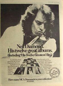 NEIL DIAMOND 1977 original POSTER ADVERT HIS 12 GREATEST HITS