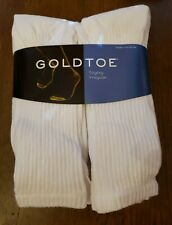 Gold Toe®6 Pk Extended White Cushion Cotton Crew Socks, sock size.13/15