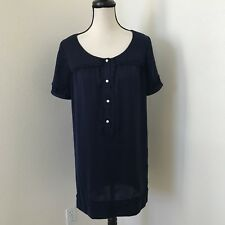 COOPERATIVE Women's Shift Dress size S Navy Blue Half Pearl Buttoned