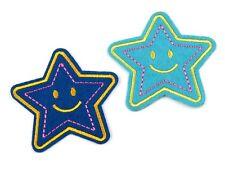 2 Aufnäher Applikation Bügelbild Aufbügler Stern Sternchen blau türkis gestickt
