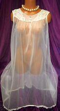 Vintage Peignoir Bridal Sweep Nylon Gown Sheer Bridal Victorian S M L