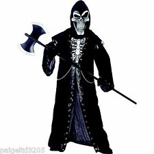 Totally Ghoul Crypt Master Boy's Black Robe  Halloween Costume Medium Size 8-14