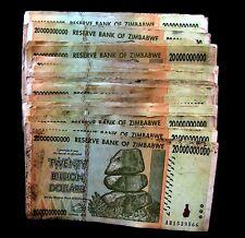 100 x Zimbabwe 20 Billion Dollar banknotes-low grade/poor condition 1 bundle