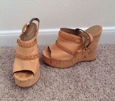 CHLOE Heels 39 Brown Leather Sandal Wedge Women's Size 9 Slide Buckle Platform