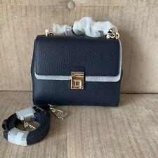 FURLA JOANN NAVY BLUE SMALL Crossbody Bag Italian Cow Leather Top Handle RRP629