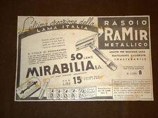 Pubblicità del 1940 Rasoio Ramir metallico o lametta da barba Mirabilia