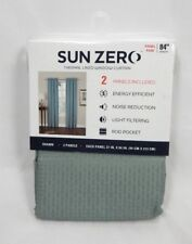 """Sun Zero Mineral Green Waffle Design Shawn Thermal Lined 2 Panel Pair, 37""""x84"""""""