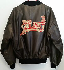 VTG Canada Roots Team Gilbey custom leather bomber jacket large Baileys Smirnoff