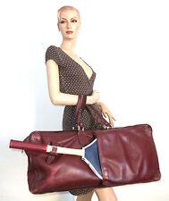 Vintage Tennistasche Tasche Leder Shabby Bag Bordeaux Tennisschläger Sporttasche