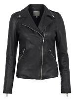 New Muubaa Carmona Leather Biker Jacket in Black