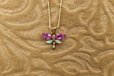10k Yellow  Gold Necklace With Pink Sapphire & Opal Dragonfly Pendant Vintage