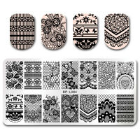 Nail Art Stamping Plates Rectangle Floral Lace Butterfly Nails Image Templates