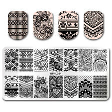 Nail Art Stamp Template Floral Lace Butterfly Rectangle Nail Image Plate BP-L084