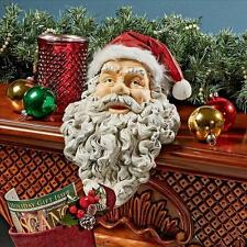 Holiday Santa Statue Christmas Stocking Holder Fireplace Mantle Shelf Sitter NEW