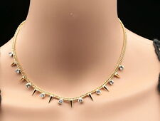 Austrian crystal cone point triangle design gold plated party dress necklace N38