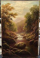Peinture Huile Tableau Paysage Rivière North Wales William Mellor (1851-1931).