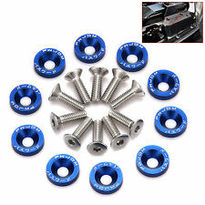 10PC Blue JDM Billet Aluminum Fender/Bumper Washer Bolt Engine Bay Dress UP SET
