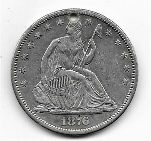 1876-CC Seated Liberty Half Dollar - AU or better - with hole - CUD on back?
