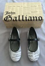 NEW JOHN GALLIANO GIRLS BLACK WHITE GAZETTE PRINT MARY JANE SHOES SZ 31 UK 12.5