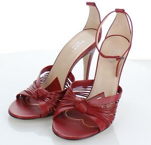 F32 NEW $858 Women's Sz 38 M Gucci Crawford Knotted Leather Sandals In Red