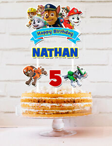 PAW PATROL CAKE TOPPER CUSTOM PERSONALISED TOPPER  PARTY LOLLY TAGS LOOT FAVOUR