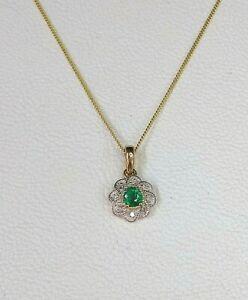 "Genuine Emerald & Diamond 9ct Yellow Gold Pendant on 18"" / 45cm Gold Chain"