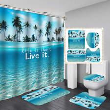 Blue Sea Palm Tree Door Bath Mat Toilet Cover Rugs Shower Curtain Bathroom Decor