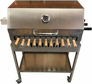 Stainless Steel Cypriot Greek Rotisserie Charcoal BBQ with Lid