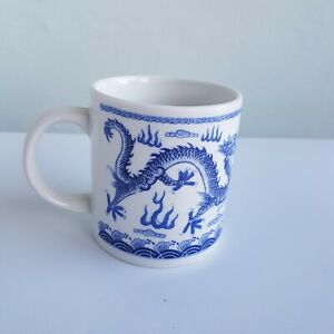 Chinese design mug cup blue white dragon oriental.