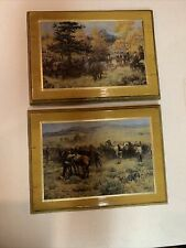 Rare Lot Of 2 George Phippen Prints On Wood With Gold Trim