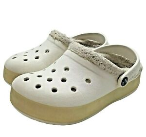 Crocs Toddler Girls Size 10/11 Fleece Lined Cream Color Clog Sandals