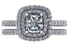 2.05 ct G VS2 cushion diamond double halo engagement wedding ring 18k white gold