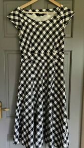 Laura Ashley Cotton Check Fit And Flair Dress Size UK 12