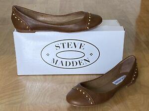 Steve Madden KStudd Ballet Flats w/Gold Studs Shoes Cognac Brown Size 6.5M - NIB