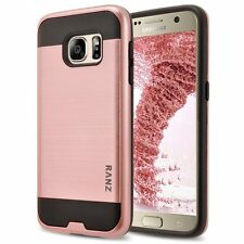 For Samsung Galaxy S7 Case, Metal Texture Dual Layer Case + Screen Protector