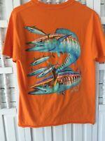 Guy Harvey men's medium orange T-shirt, fish graphic on back, short sleeves, N3