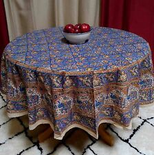 "Handmade Hand Block Print Tablecloth 100% Cotton 72"" Round Blue Gorgeous"