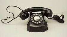 Antique Vintage 1930's Rotary Dial Telephone Cast Metal Black Art Deco PHONE