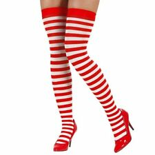 Red and White Striped Over the Knee Socks Costume Thigh-High Ladies Costume