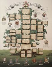 Work of art custom family tree painting w. Ancestor - Family Coat of Arms