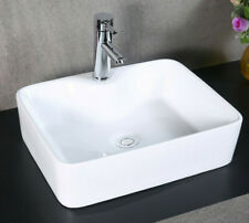 Bathroom Square Ceramic White Gloss Basins with Fixing - Countertop Sinks