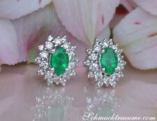 Dezente Eleganz: Zeitlose Smaragd Ohrstecker mit Diamanten 1.49 ct. WG 585 2550€