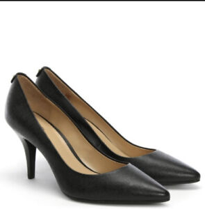 Ladies Designer Michael Kors Black Leather Pumps/heel Shoes Size UK 5