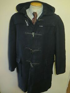 "Vintage Gloverall Wool Duffle Duffel Coat Raincoat L 44"" Euro 54 - Black"