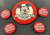 Lot of 5 Vintage Happy Birthday Mickey & Mickey Mouse Club Pin Button Pinbacks